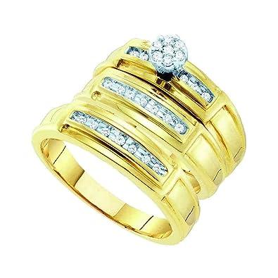 Juego de anillos de boda de oro amarillo de 10 quilates para él y ...
