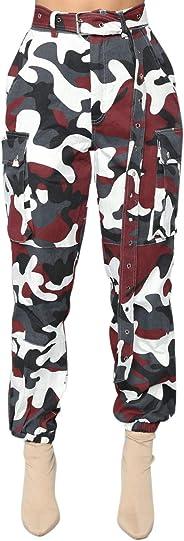 Katesid Womens High Waist Harem Pants Camo Bootcut Trousers Cargo Pants Capris