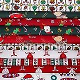 10 Pieces Christmas Cotton Fabric Bundles 18 x 22 Inch Sewing Squares Bundle Multi-Color Fabric Patchwork Christmas Tree Fat Quarters Precut Santa Claus Fabric Scraps for Christmas DIY Quilting