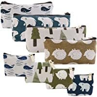 Selizo 8 Packs Canvas Pencil Pen Zipper Pouch Small Cosmetic Makeup Bags, Forest and Animal Style