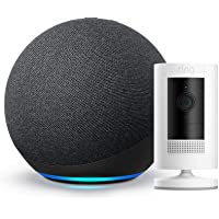 All New Echo 4th Gen with Ring Stick Up Cam Battery White