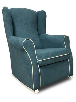 SERMAHOME- Sillón butaca Balancín orejero Modelo Deluxe Lactancia. Tapizado Azul Turquesa con Vivos Beige. Medidas: 102 x 75 x 74.