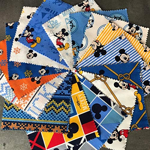 Mickey Mouse Disney 100/% Cotton 20 piece Charm Pack Perfect for Craft//Quilting
