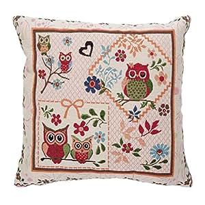 "OWLS FLORAL FLOWER TAPESTRY VELVET RED CREAM GREEN THICK CUSHION COVER 18"" - 45CM"