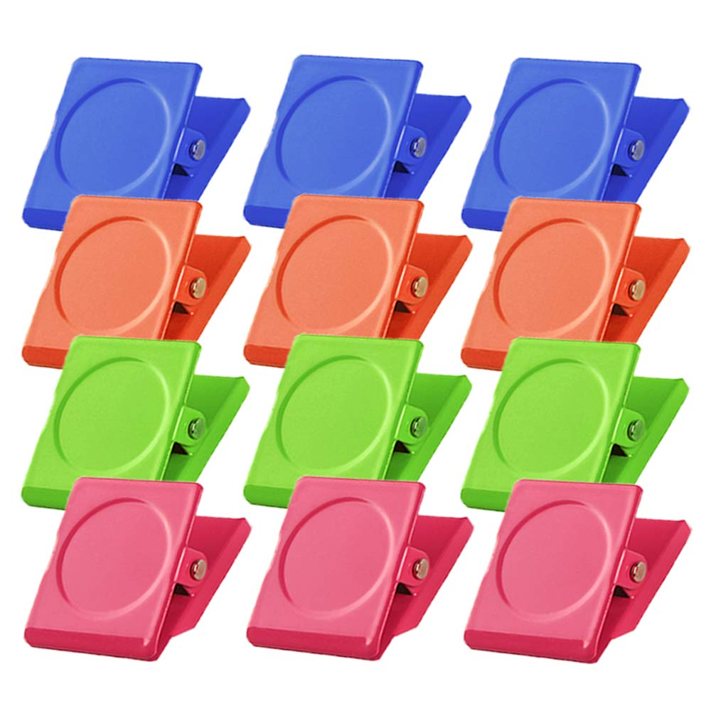 GMAOPHY 12 Magnetic Metal Clips, Colored Magnets Clips,Perfect Fridge Magnets Kitchen Magnets Whiteboard Magnets for Home, School, Classroom and Office Use,4 Colors