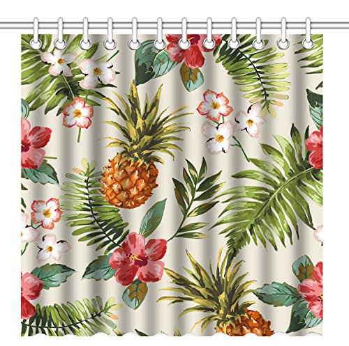 Wknoon 72 x 72 Inch Shower Curtain,Vintage Seamless Tropical Flowers with Pineapple Vector Pattern Background,Waterproof Polyester Fabric Decorative Bathroom Bath Curtains (Vintage Curtain Shower Tropical)