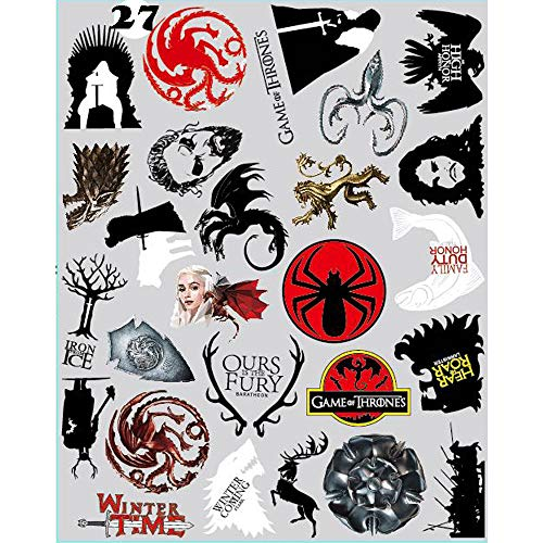 27pcs Game of Thrones Stickers - Winter is Coming Fire and Blood MacBook Decal Mac Air Pro Retina Laptop Stickers for Water Bottles Phone Case Computer Car Luggage, Waterproof (game of thrones 27pcs) (Best Games For Ipad Air)