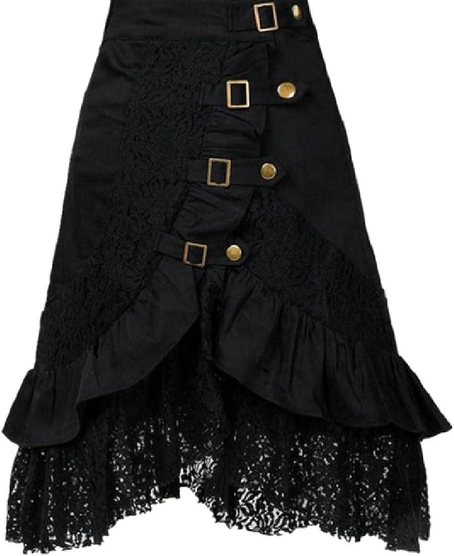 DressUWomen Atractiva hila cintura de punk enaguas de encaje falda ...
