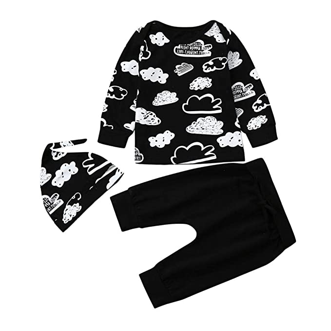 f447ee217a9d Iuhan Newborn Infant Baby Girl Boy Cloud Print T Shirt Tops+Pants ...