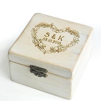 Custom Vintage Hochzeit Ring Box Shabby Chic Holz Rustikal Hochzeit