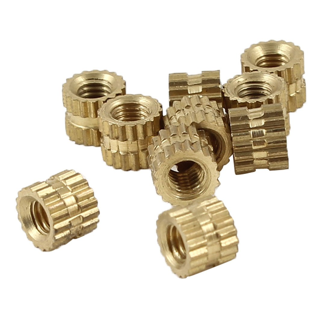 Sourcingmap a13111400ux0684 3mm Threaded High Brass Knurled Inserts (10 Pieces)