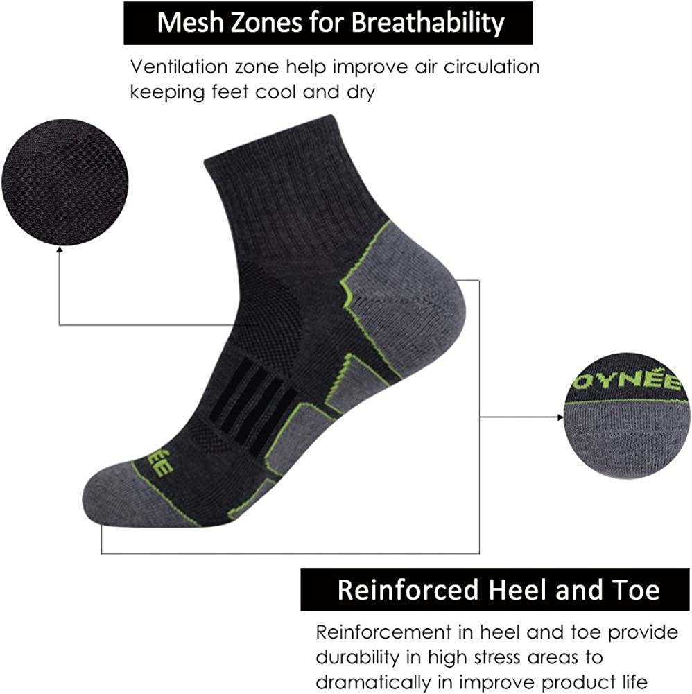 JOYNÉE Men's 6 Pack Athletic Performance Cushion Ankle Running Quarter Socks,Grey 1,Sock Size:10-13: Clothing