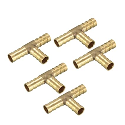6mm Keenso Brass Joiner Hose Joiner Adapter for Fuel Air Water Gas Oil 3-Way T-piece Fuel Hose Barbed Connector