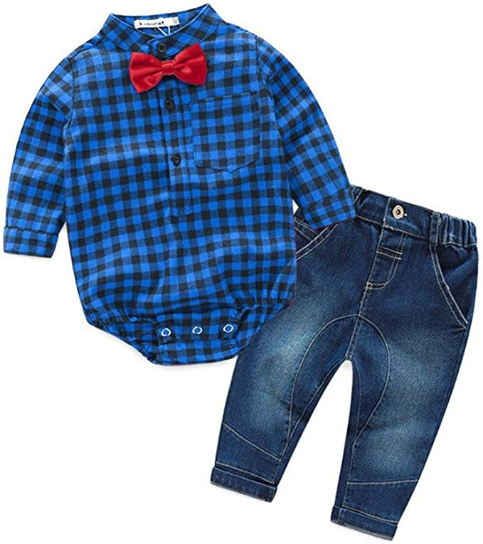 Clode Baby Boys Outfit for 0-2 Years Old Kids Toddler Baby Boys Outfit Clothes Grid Print Blouse Romper Tops with Bow Tie and Demin Long Pants 1Set Occasion Outfit