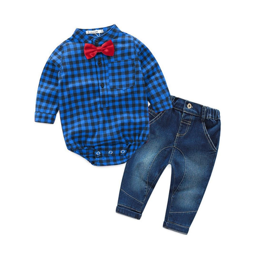 Clode Baby Boys Outfit, for 0-2 Years Old Kids Toddler Baby Boys Outfit Clothes Grid Print Blouse Romper Tops with Bow Tie and Demin Long Pants 1Set Occasion Outfit (12-18 Months, Blue) Clode-TS-00219