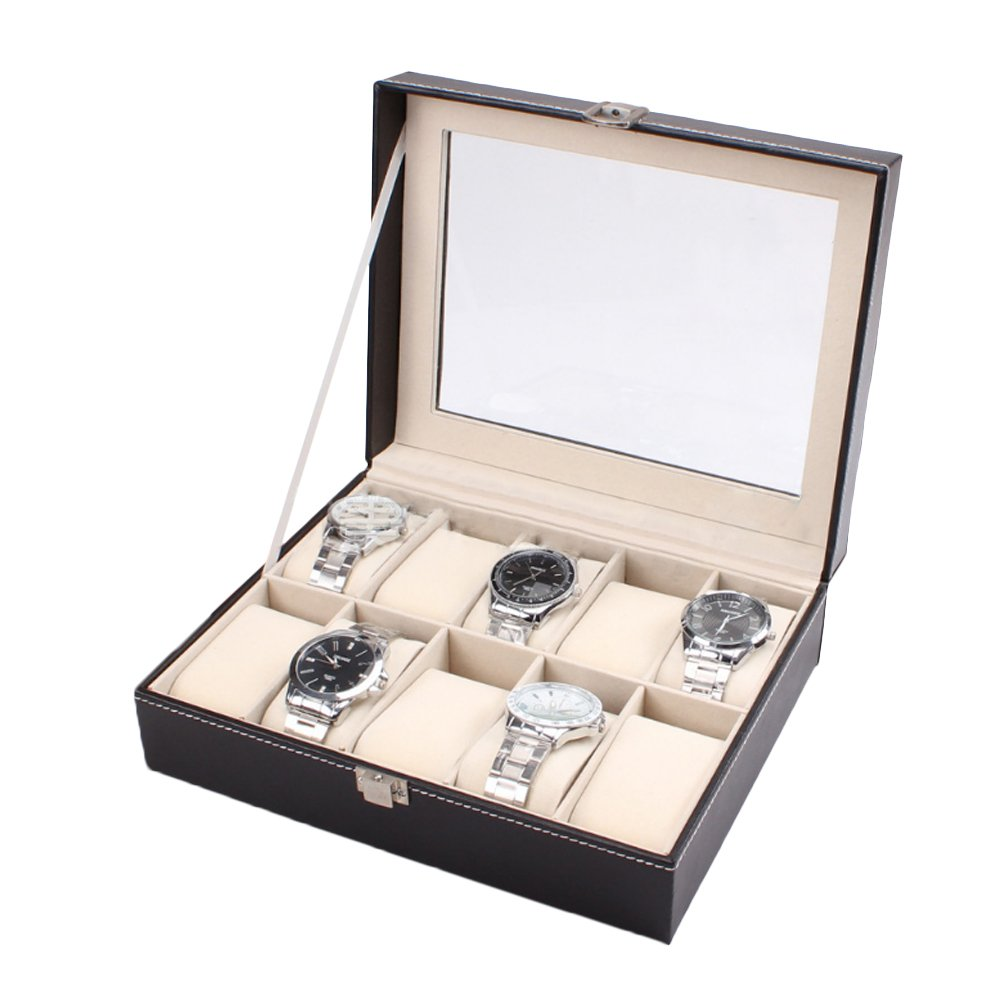 HUALING Uhrenbox fÜr Herren – 10 Slot High-End PU Watchcase Leder Tasche Case Armbanduhr Display