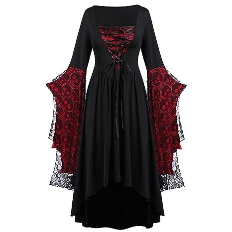 Fossenfeliz Disfraz de Reina Gótico Elegante de Encajes- Vestido de Mujeres Halloween Realista - Falda Larga de Diosa del Temperamento de Fiesta de ...