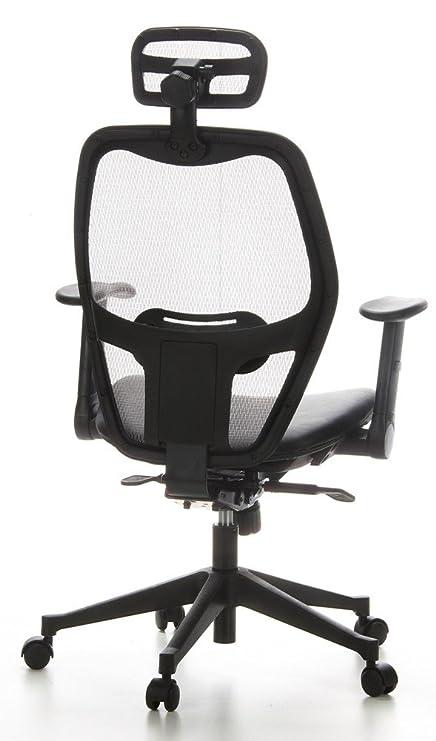 hjh OFFICE 653050 silla de oficina AIR-PORT tejido de malla gris / piel negro, apoyabrazos plegables, soporte lumbar, apoyacabezas, inclinable, sillón ...