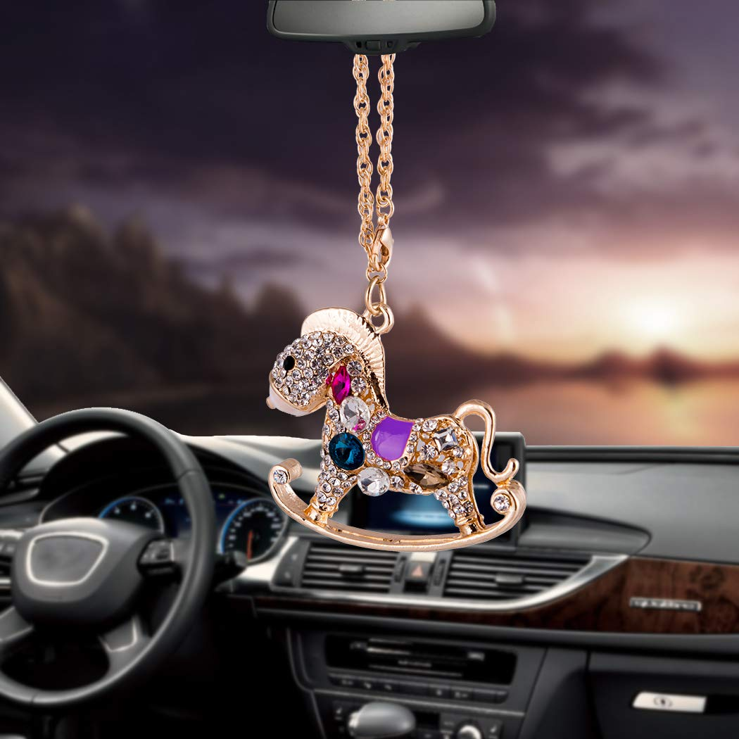 Libloop Crystal Horse Deer Car Auto Rearview Mirror Hanging Decoration Long Beautiful Ornament Car Pendant Car Accessories Water Brick Shinny/ Wall Furniture /& Decor/  Horse