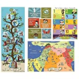 Bible Posters for Kids (Set of 4) Lord's Prayer, Ten Commandments, Bible Map & Family Tree