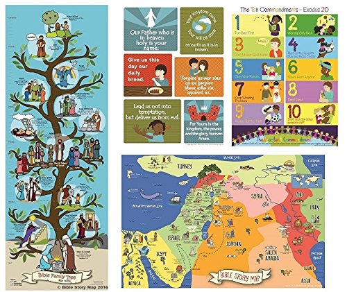 Bible Posters for Kids (Set of 4) Lord's Prayer, Ten Commandments, Bible Map & Family Tree - Christian History & Art for Home Church Or Sunday Bible School