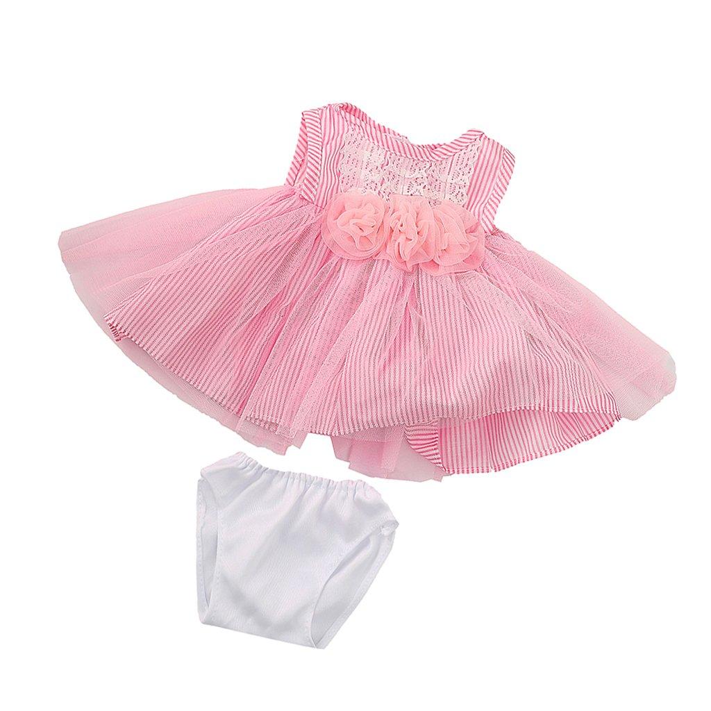 MagiDeal Vestido Falda de Encaje Flores Rayas con Ropa Interior para American Girl Doll 18 Pulgadas