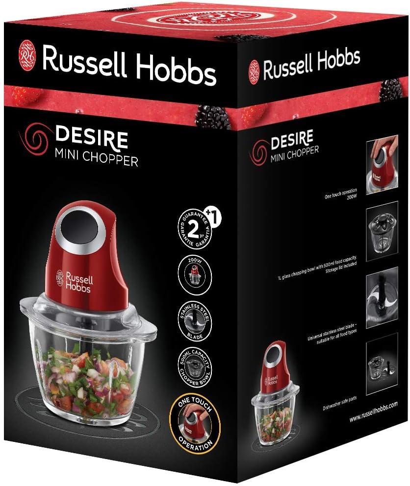 Ein-Hand-Bedientaste Russell Hobbs 24660-56 Desire Mini-Zerkleinerer Glasbehä