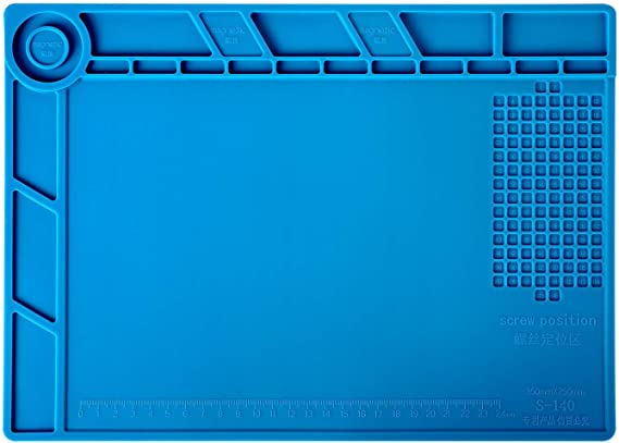 Heat Insulation Silicone Repair Mat with Scale Ruler and Screw Position for Soldering Iron Phone and Computer Repair Size:17.9 x 11.8 Inches