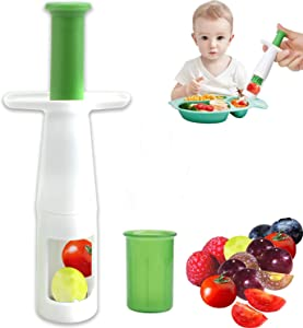 Grape Cutter, Tomato Cutter Fruit Vegetable Slicer, Multifunctional Creative Cut Tools for Salad Gadget and Baby Auxiliary Food, Plastic Shell Stainless Steel Blade Instant Cut for Party Kitchen