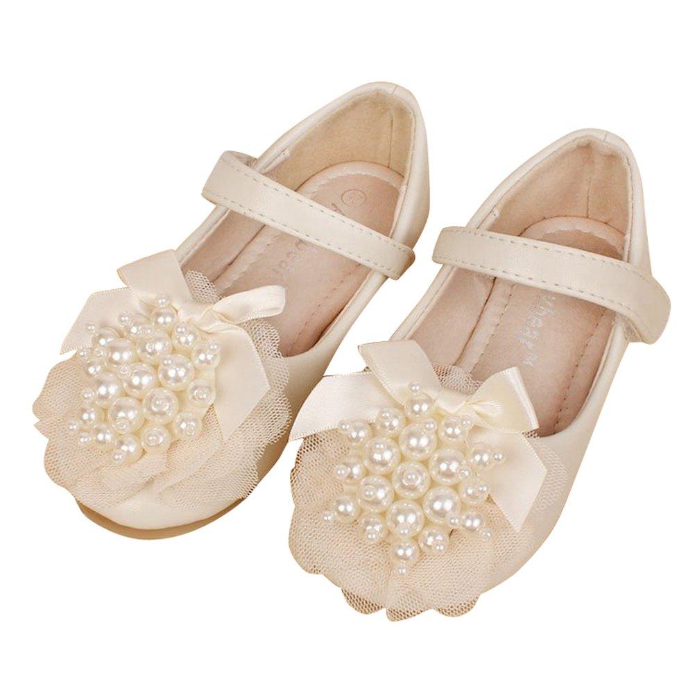 Always Pretty Little Girls Cute Round Toe Beading Ballet Ballerina Flats Princess Shoes (Toddler/Little Kid) Ivory 5.5 M US Toddler