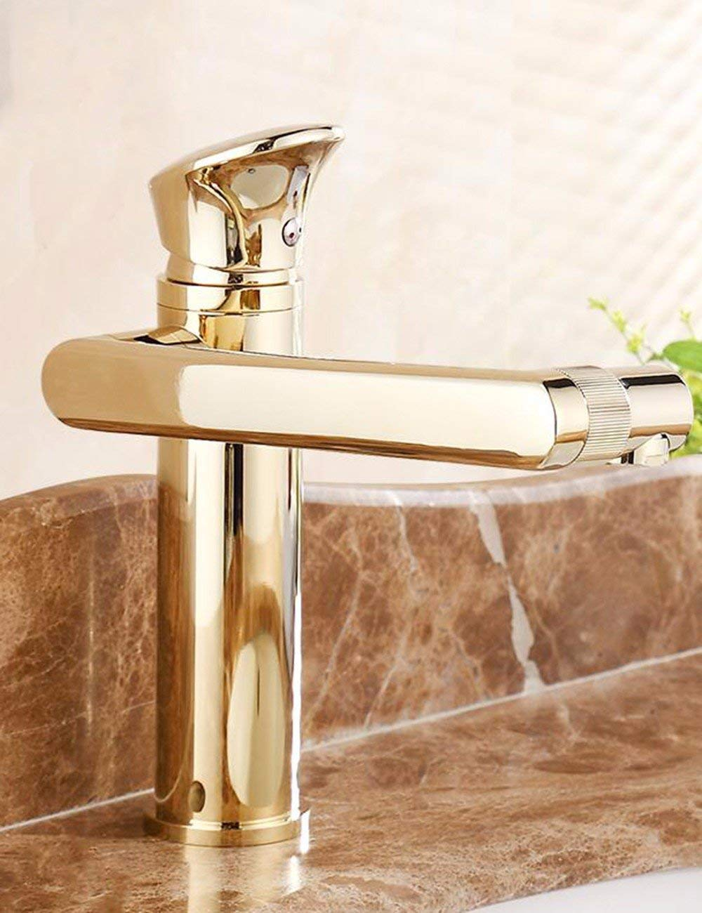 Oudan Basin Mixer Tap Bathroom Sink Faucet Water faucet basin faucet single hole hot and cold basin mixer rotation faucet gold continental antique faucet, silver (Color : The High-gold)
