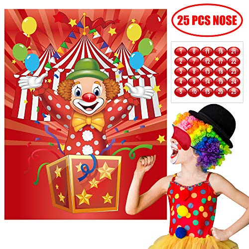 Happy Storm Carnival Games Pin the Nose on the Clown Circus Party Games Carnival Party Supplies Favors Circus Theme Birthday Party Decorations for Kids (Best Party Games Of All Time)