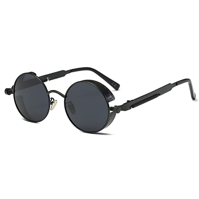 1e072b25bbe2 AMZTM Small Round Metal Frame Mirrored Reflective Lens Polarized Women and  Men Steampunk Sunglasses (Black Frame and Grey Lens