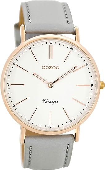 Oozoo Reloj Digital de Cuarzo para Mujer con Correa de Cuero - C8166: Amazon.es: Relojes