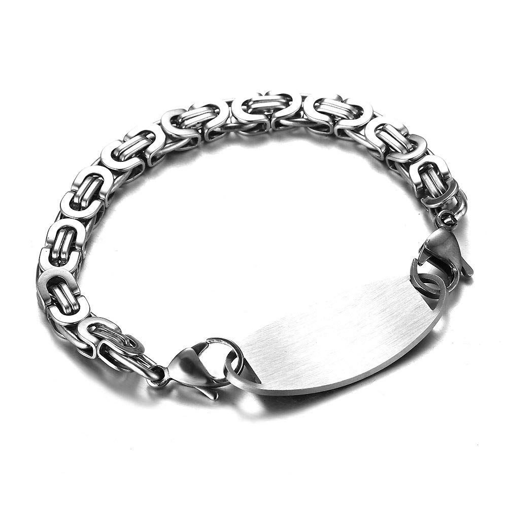 Free Engraving JF.JEWELRY Stainless Steel Byzantine Link Medical Alert ID Bracelet for Women and Men Silver