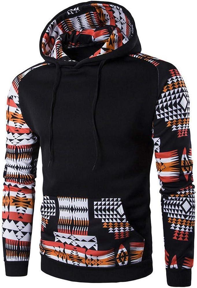 MASHAN Men Autumn Winter Hoodies Geometric Printing Hooded Sweatshirt Male Pocket Pullover Tops Blouse