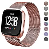 hooroor for Fitbit Versa Bands Women Men Small Large, Milanese Loop Stainless Steel Metal Replacement Bracelet Strap with Unique Magnet Lock Accessories Wristbands for Fitbit Versa Fitness Smart Watch