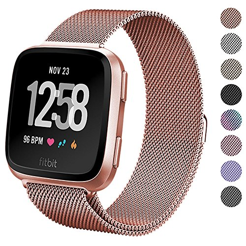 Fitbit Versa Bands for Women Men Small Large, hooroor Milanese Loop Stainless Steel Metal Replacement Bracelet Strap with Unique Magnet Lock Accessories Wristbands for Fitbit Versa Fitness Smart Watch