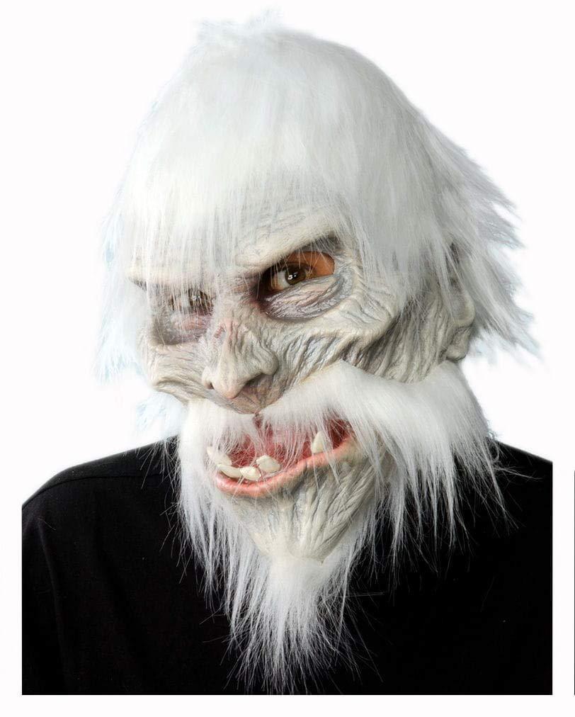 Horror-Shop Weiße Krieger Maske mit Haaren