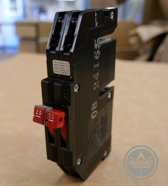 2Pole Circuit Breaker 120//240VAC Slim Magnetrip Zinsco R-38 30Amp