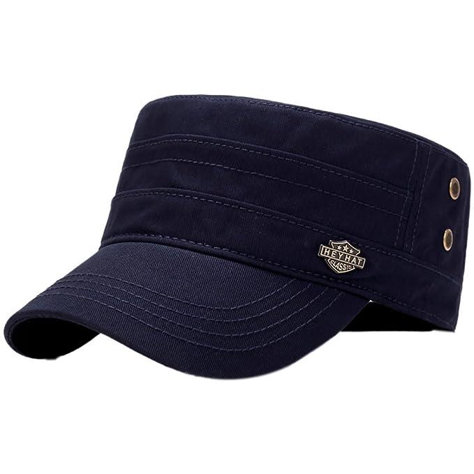 Aesy Gorra de Tapa Plana, Gorras de Béisbol, Ajustable Algodón Sombrero Cabeza Gorra de