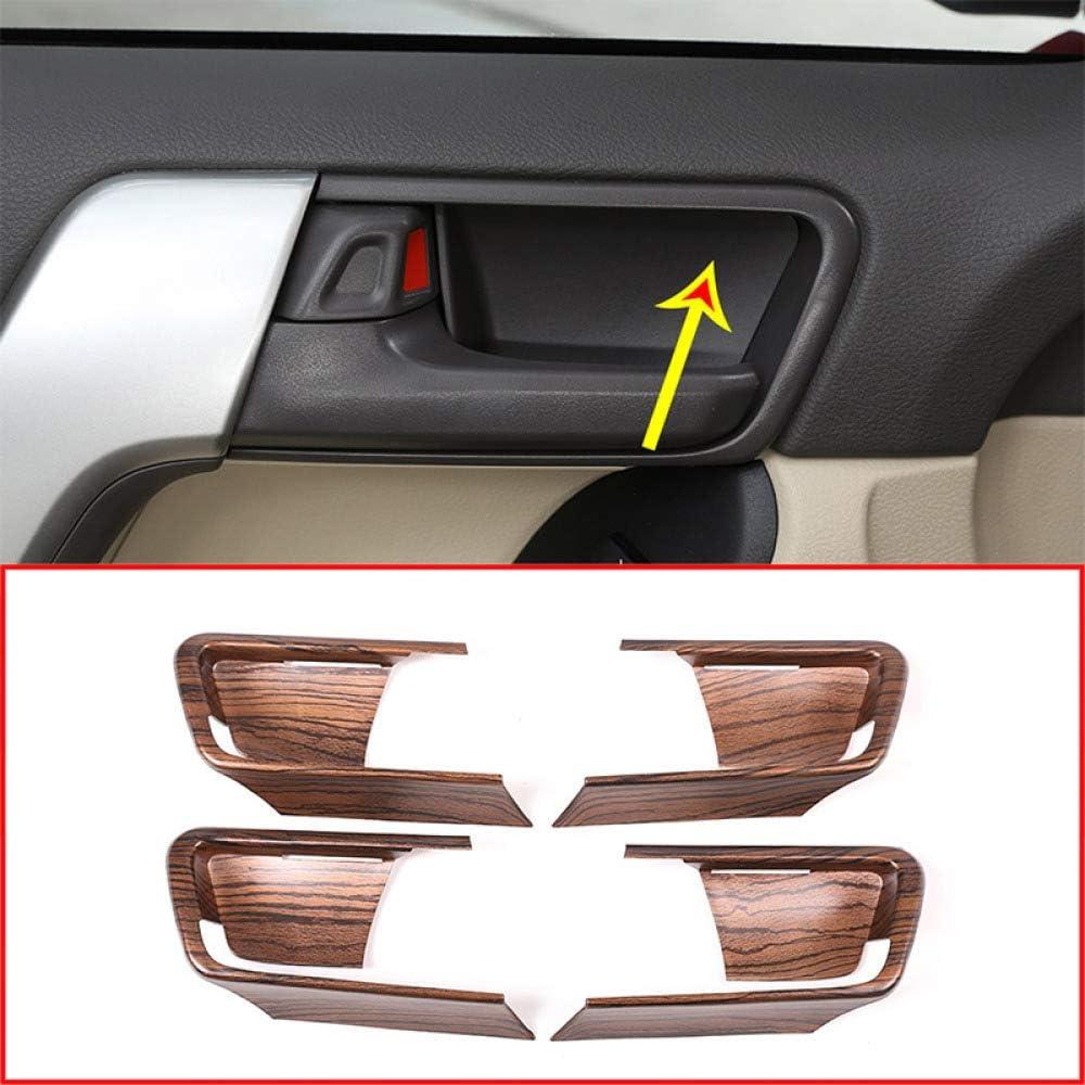 SLONGK Para Toyota Land Cruiser Prado FJ150 150 2014-2018, 4 Piezas de Grano de Madera de Pino Coche ABS Puerta Interior Tazón Cubierta Accesorios de Ajuste