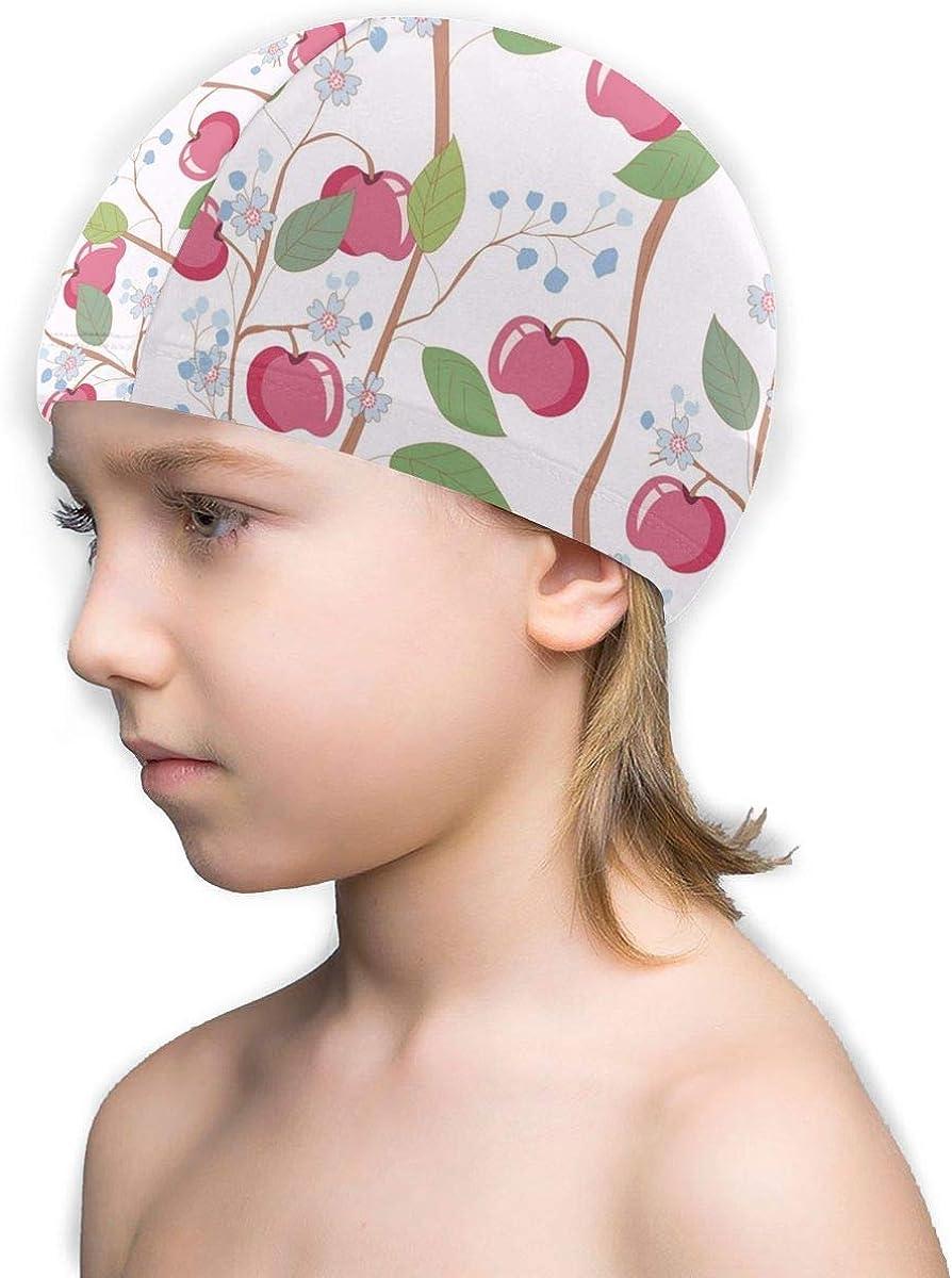 Kids Novelty Swim Cap Apple Flower Floral Plaid Lycra Swimming Cap for Boy,Girls,Children White