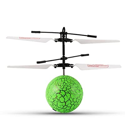 YINYU TOYS Quality RC Flying Ball with Color Changing LED Lights, RC Infrared Induction Helicopter Ball Built-in Shinning Color Changing LED Lights for Kids, Teen (Green): Toys & Games