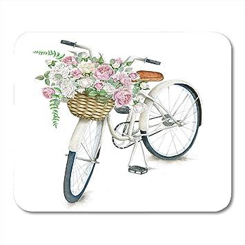 Almohadillas para ratón Rosa, Acuarela, Blanco, Bicicleta Blanca ...
