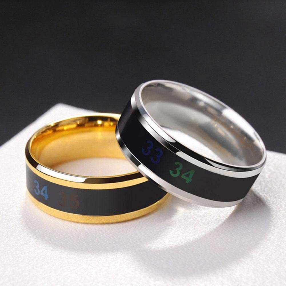 Suitable Size Titanium Steel Wave Rings-gold-12# Digital Thermometer Body Temperature Sensor Smart Rings Wedding Couple Lovers Rings Temperature Monitor Rings