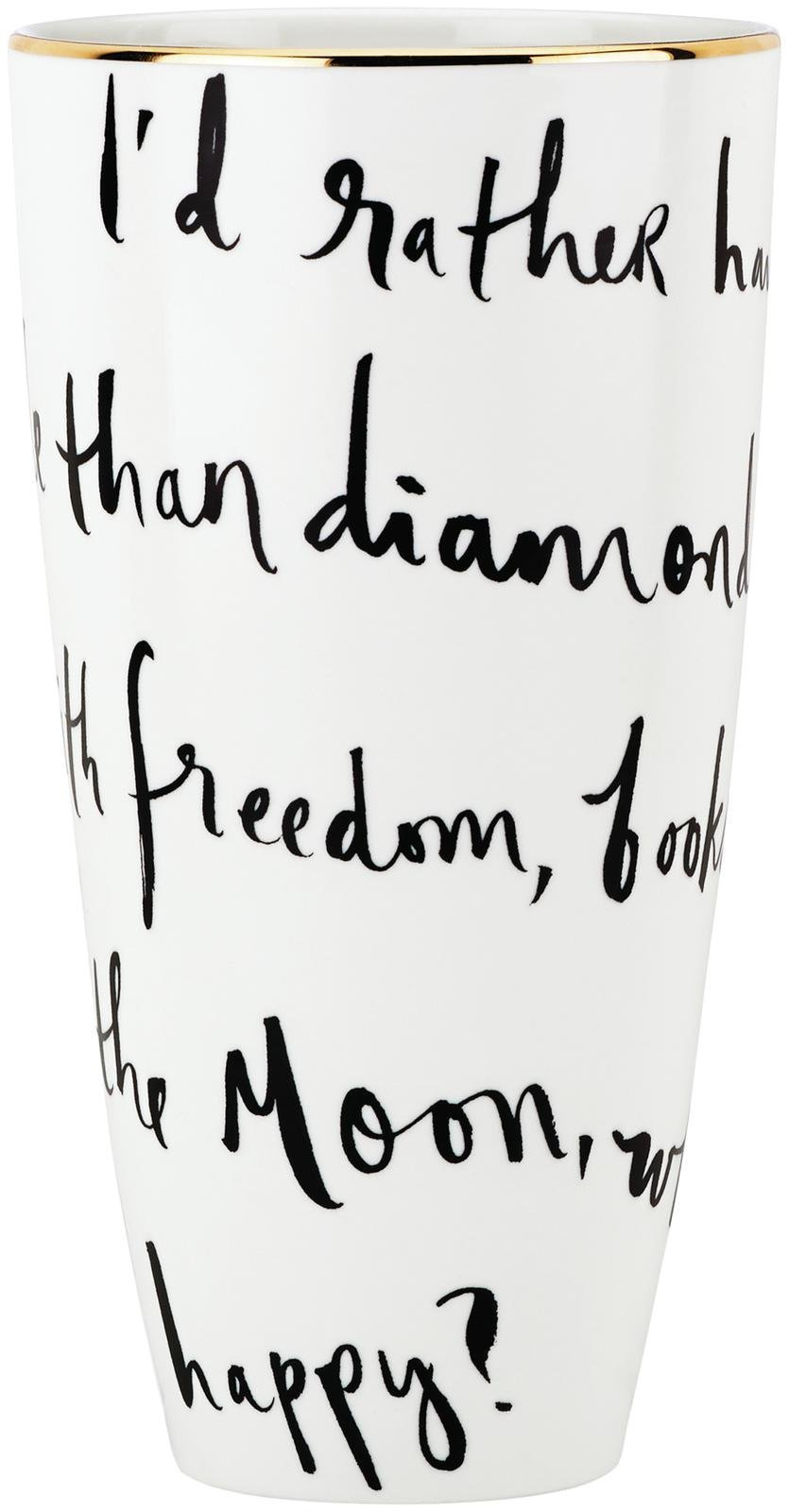 "Kate Spade New York Daisy Place I'd Rather Be Vase, 9"" - Whimsical decorative kate spade 9"" flower vase Inscribed with ""I'd rather have roses on my table than diamonds on my neck, with freedom, books, flowers, and the moon, who could not be happy?"" White porcelain - vases, kitchen-dining-room-decor, kitchen-dining-room - 613MuZdG84L -"