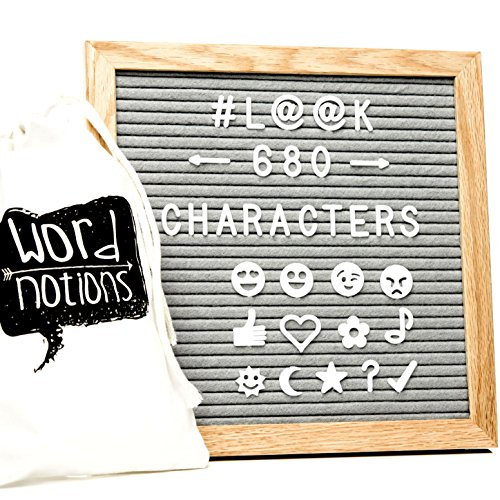 Gray Felt Letter Board | 680 Characters, Letters & Emojis | @, $, ♥,¢, ♪, & More | Drawstring Canvas Pouch | 10