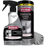 Weiman Stainless Steel Cleaner Kit - Fingerprint Resistant, Removes Residue, Water Marks and Grease from Appliances - Works G