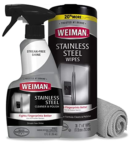 Weiman Stainless Steel Cleaner Kit - Fingerprint Resistant, Removes Residue,  Water Marks and Grease from Appliances - Works Great on Refrigerators,  Dishwashers, Ovens, and Grills: Amazon.in: Home & Kitchen